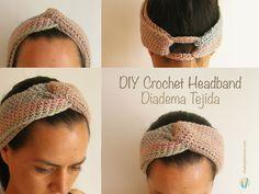 DIY crochet headband, three pieces crocheted in the round with single crochet/ Diadema tejida, hazla tú mismo, tejida en redondo a ganchillo con medio punto (punto bajo)