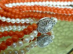 Natural red coral and pearl necklace 14k clasp. $2,800.00, via Etsy.