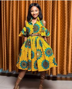 Items similar to African Print Midi Dress- Cold Shoulder Dress - Ankara - Ankara Print - African Dress - Handmade - Africa Clothing - African Fashion on Etsy African Fashion Designers, African Inspired Fashion, African Print Fashion, Africa Fashion, African Print Dresses, African Fashion Dresses, African Dress, Ankara Fashion, African Prints
