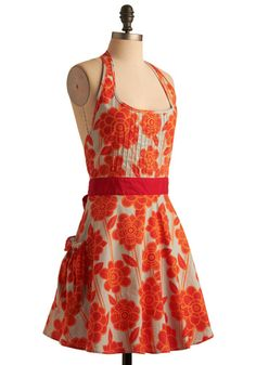 If only I could remember to wear aprons. This one is divine!    Haute Hibiscus Apron, #ModCloth