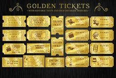 Golden Tickets Templates Set by FourLeafLover on Creative Market