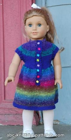 American Girl Doll Round Yoke Dress free knitting pattern