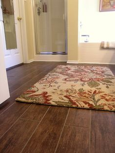 wood look tile in bathroom   Wood Tile Floor Design Ideas, Pictures, Remodel, and Decor