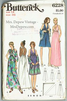 "Vintage Sewing Pattern 1970s Butterick 6228 Ladies' A-line Maxi Dress 36"" Bust - Free Pattern Grading E-book Included"