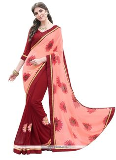 Fashion and pattern would be at the peak of your attractiveness after you dresses this maroon and pink georgette designer saree. The ethnic patch border work in the attire adds a sign of beauty statem...