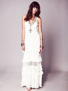 *like the beaded neckline   Free People Kristal's Limited Edition White Dress