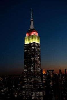 The Empire State Building in NYC is showing off the German colors of Black, Gold and Red in honor of their World Cup win over Brazil on July 8, 2014.