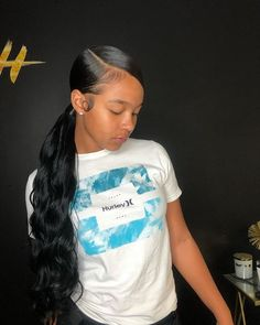hairstyles women tips are available on our web pages. Have a look and you wont b Long Ponytail Hairstyles, Hair Ponytail Styles, Slicked Back Ponytail, Slick Ponytail, Easy Hairstyles For Medium Hair, Baddie Hairstyles, My Hairstyle, Black Women Hairstyles, Curly Hair Styles