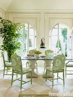 trim over french doors, beautiful detail--Mimi McMakin Decorates a Palm Beach Maisonette- The Glam Pad Decor, Interior, Green Dining Chairs, Dining, Dining Room Chairs, Cheap Home Decor, Beautiful Homes, Dining Room Decor, White Rooms