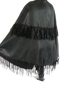 Antique Civil War Cape  Hand Made Black Silk by bonitalouise