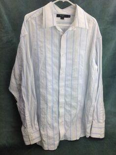 Mens-Sz-XXL-SEAN-JOHN-Long-Sleeve-100-Cotton-Dress-Shirt-Blue-and-White-Nice