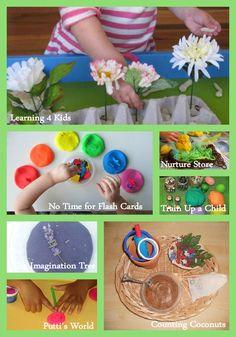 Montessori-Inspired Spring Playdough Activities for Home or Classroom (a variety of spring-themed ideas) http://livingmontessorinow.com/2013/03/18/montessori-monday-montessori-inspired-spring-playdough-activities/