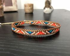 Anklet in Miyuki - Adriana Aristizabal Loom Bracelet Patterns, Bead Loom Bracelets, Bracelet Crafts, Bead Loom Patterns, Ankle Bracelets, Beaded Anklets, Beaded Jewelry, Ankle Chain, Bead Earrings