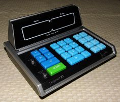 """Vintage Unisonic 21 Blackjack Computer Console With Calculator, Model 21-D3 (aka Model D-3), """"Play and Enjoy Unsonic 21 With Jimmy the Greek"""", Made in Taiwan, Copyright 1977."""