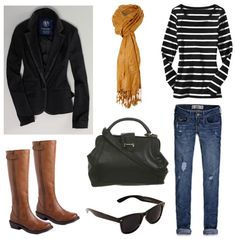 Love long sleeved t-shirts, scarf, large purse, dark blue jeans, classic jacket & boots
