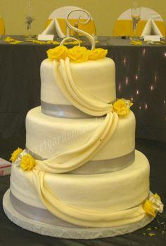 White Yellow Wedding Cake