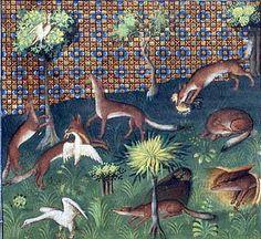 The fox as a poultry thief.   Livre da la Chasse of Gaston Phoebus, Pierpont Morgan Library. MS M.1044, fol. 25v, Paris around 1410.