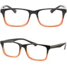 Square Women Men Acetate Prescription Glasses Plastic Frame Dual Tone Gray Brown #Unbranded