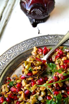 green olive, walnut and pomegranate winter salad