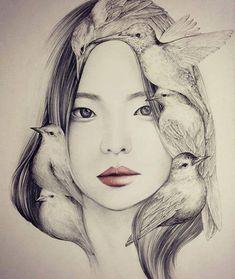 black and white - woman with birds - drawing - OkArt aka Okjungok