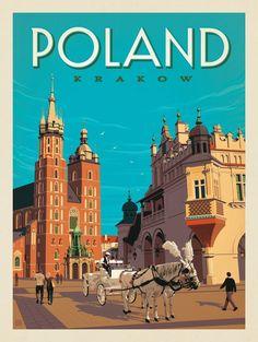 Vintage Poster Anderson Design Group – World Travel – Poland: Krakow - Art Deco Posters, Vintage Travel Posters, Vintage Postcards, Poster Prints, Vintage Travel Decor, Poland Travel, Italy Travel, Photo Vintage, Krakow Poland