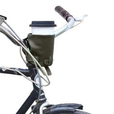 Cruzy Leather Bike Cup Holder Handmade by Hide & Drink — The Stockyard Exchange Canvas Leather, Bonded Leather, Soft Leather, Bike Cup Holder, Large Containers, Leather Conditioner, Leather Pieces, Waxed Canvas