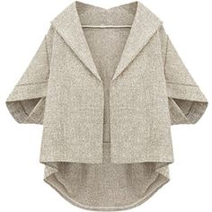 Khaki Irregularly Batwing Sleeve Pretty Womens Blazer