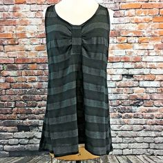 CAbi Black Gray Striped Float Tank Tunic Women's Size Small S Style #818 #CAbi #TankCami #Casual