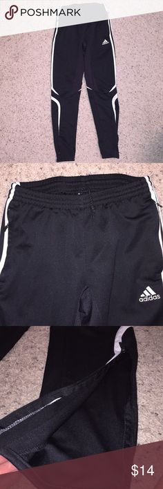 FINAL PRICE DROP Adidas Zipper Joggers Youth joggers. Can be both for boys and/or girls. Has zippers on the sides of the calves as well as zippered pockets as shown in photos. Worn many times. No rips or stains. Good condition.  You can bundle 1 more item to get a 10% discount, but I am going no lower than $12 for this. adidas Bottoms Sweatpants & Joggers