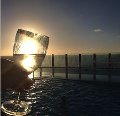 A sunset view from The Garden Pool & Bar on #MSCDivina. Photo by @All Aboard TV.