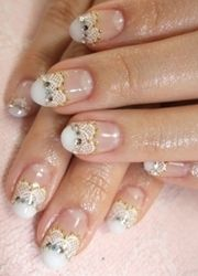 white lace french tips and diamante bridal nail art