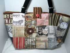 Yarn Holder Tote Bag made with Eclectic by JDCreativeHands on Etsy