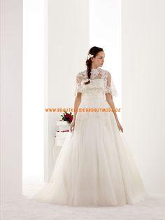 2014 Modische schöne Brautkleider aus Satin und Softnetz A-Linie