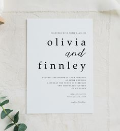 Minimalist Wedding Invitation Bohemian Wedding Invitation