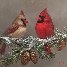 """Comfort & Joy"" original fine art by Krista Eaton Bird Pictures, Pictures To Paint, Christmas Paintings, Christmas Art, Pretty Birds, Beautiful Birds, Les Moomins, Cardinal Birds, Backyard Birds"
