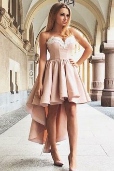 A-Line Sweetheart High Low Pink Stretch Satin Homecoming Dress with Ap — Chicloth Simple Dresses, Casual Dresses, Short Dresses, Casual Homecoming Dresses, Homecoming Dance, Cheap Dresses Online, Stretch Satin, Dance Dresses, Special Occasion Dresses