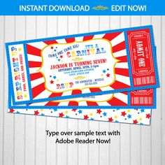 Carnival Invitations Carnival Theme Party by ArcticParty on Etsy Carnival Birthday Invitations, Carnival Tickets, Carnival Themed Party, Free Printable Birthday Invitations, Carnival Birthday Parties, Party Themes, Party Ideas, Circus Party, Birthday Template