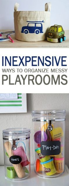 Inexpensive Ways to Organize Messy Playrooms - 101 Days of Organization