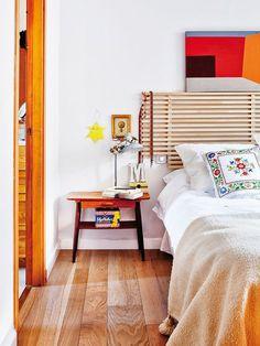 Cabecero Mandal, de Ikea, adaptado al espacio