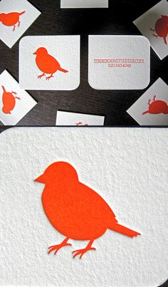 Slick And Simple Design Letterpress Business Card For A Wedding Photographer - love the bright bird logo!