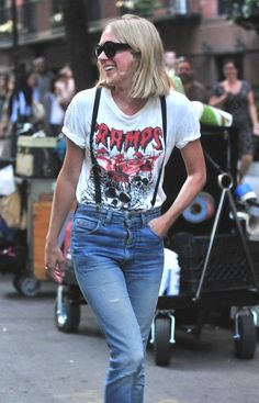 cute street fashion / Love this whole outfit! Love the black braces with the high waisted jeans, and I totes love that Cramps T-Shirt! Perfect