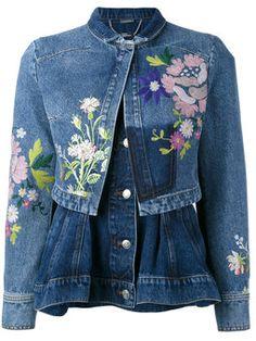 Alexander McQueen embroidered denim jacket - I love the little peplum-like bottom part. Wow!