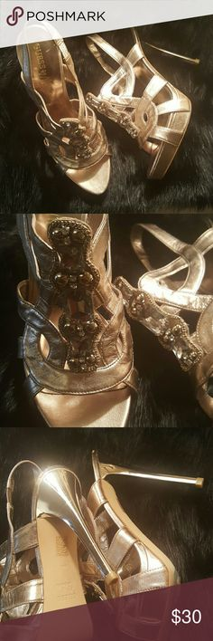 Guess Gold heels with Large Stones Amazing heels! Can spice up any evening outfit. Gently worn. Guess by Marciano Shoes Heels