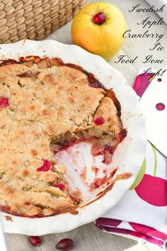 This was so easy and the crust is amazing. You just spoon it on top! Swedish Apple Cranberry Pie Low Calorie Low Fat Dessert