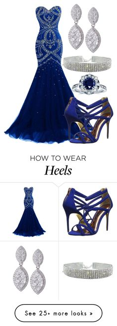 """Prom 2016 with Blue Beaded Mermaid Gown and Diamond Drop Earrings With Blue Strappy Stiletto Heels"" by danihope on Polyvore featuring Ted Baker and Kobelli"