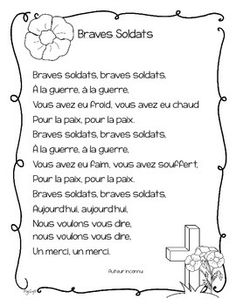 FREE Remembrance Day poem in French ~ Braves Soldats. French Teaching Resources, Tools For Teaching, Teaching French, Remembrance Day Poems, Remembrance Day Activities, Poems For Students, French Poems, French For Beginners, Core French
