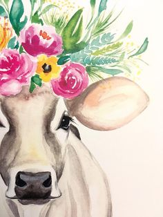 original watercolor print on card stock Lucy the Cow (Kristen A. Watercolor Animals, Watercolor Print, Watercolor Paintings, Watercolor Flowers, Cow Painting, Painting & Drawing, Cow Drawing, Cow Pictures, Art Inspiration Drawing