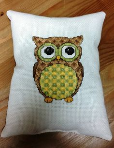 Cross Stitch Owl Decorative Pillow  Small by bumblebeedream