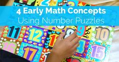 4 Early Math Concepts Using Puzzles. Some easy ideas to get the kids excited about math. #learning #math