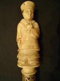 Bengala Figura de Chinês de Marfim - anel de bronze com..